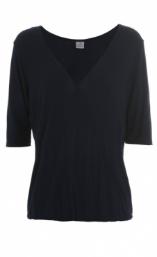 Drapey Wrap Front Shirt - Navy