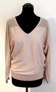 Cotton & Silk V-Neck Sweater - Sand