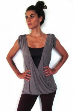 Reversible Open Back T - Dark Stone
