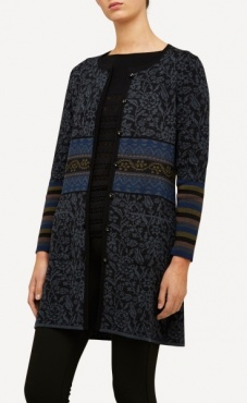 Oleana Long Cardigan Arabesque - Black