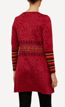 Oleana Long Cardigan Arabesque - Red