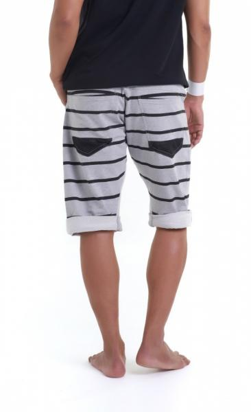 Asana Yoga Shorts - Grey Marl Stripes - 1