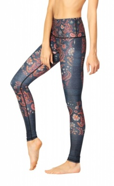 Festival Denim Floral Yoga Leggings
