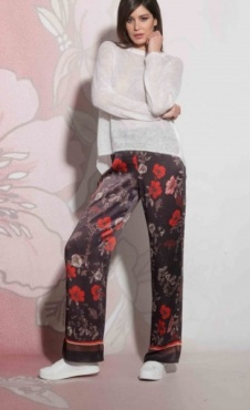 Floral Lounge Pants - Black