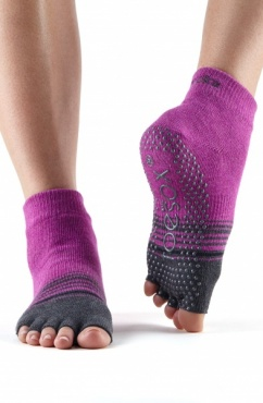 Toesox Ankle Half Toe - Mulberry Stripe