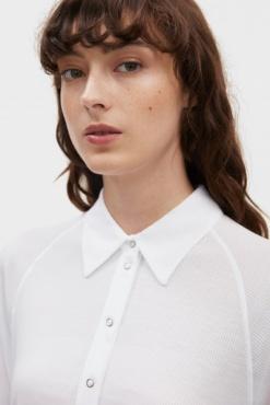 Filippa K Rib Polo Shirt- White