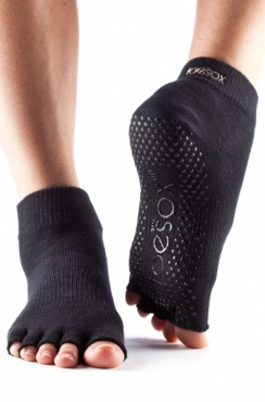 Toesox Ankle Half Toe - Black