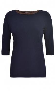 Sparkle Elbow Sleeve T - Navy
