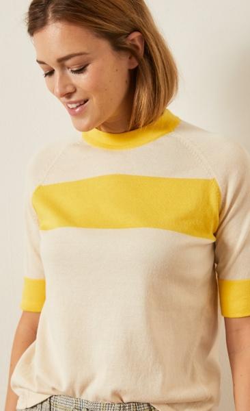 Lanius Knitted Half Sleeve Sweater - Sun