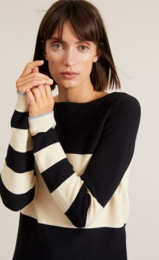 Cotton Knit Striped Longsleeve Sweater