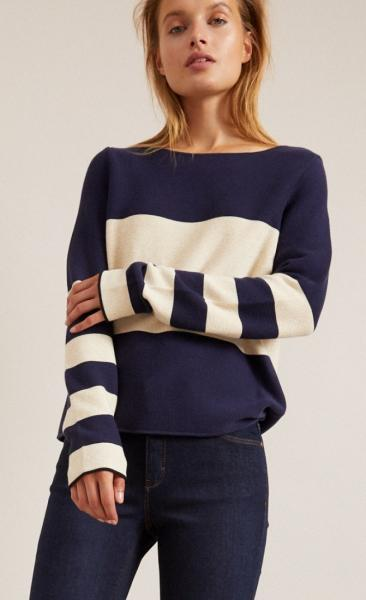 Cotton Knit Striped Longsleeve Sweater - Navy - 1