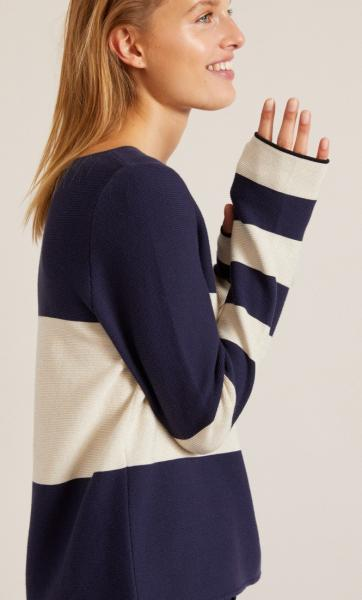 Cotton Knit Striped Longsleeve Sweater - Navy - 2