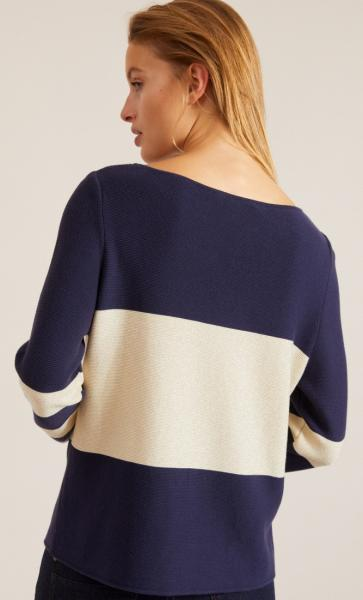 Cotton Knit Striped Longsleeve Sweater - Navy - 4