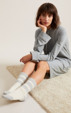 Warm Knitted Socks - Stripes Off white