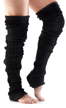 Long Ribbed Leg Warmer - Black