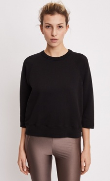 Mid Sleeve Sweat - Black