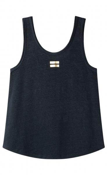 10Days Linen Top - Dark Blue-grey
