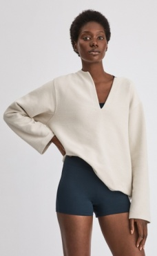 Filippa K Reversed Split Sweatshirt Ivory