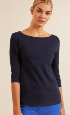 Lanius Boatneck 3/4 Tee - Night Blue