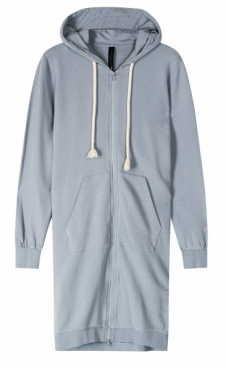 10Days Long Hoodie Cardigan - Grey/blue