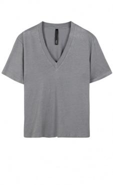 10Days Linen V-Neck Tee - Grey Blue