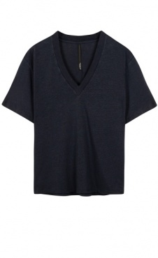 10Days Linen V-Neck Tee - Dark Grey Blue