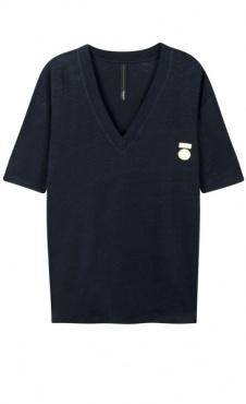 10Days Linen V-Neck Tee Medal Logo