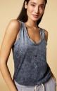 10Days Sleeveless Linen Top - Washed Dark Grey Blue - 2