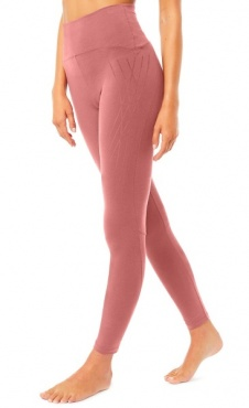 High Waist Flock Legging - Rosewood