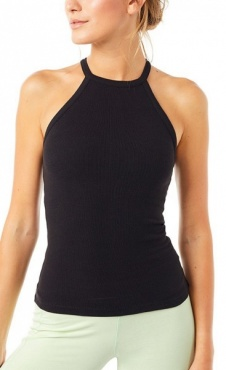 Rib Halterneck Top - Black