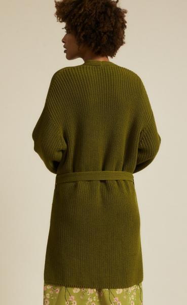 Lanius Cotton Knit Cardigan - Olive - 1