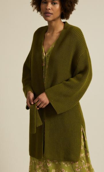 Lanius Cotton Knit Cardigan - Olive - 2