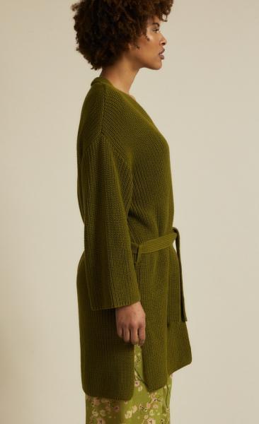Lanius Cotton Knit Cardigan - Olive - 4