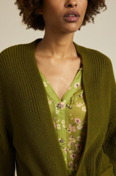 Lanius Cotton Knit Cardigan - Olive - 5