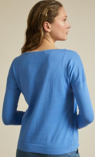 Lanius Cotton Knit Boatneck Pullover - Horizon Blue - 2