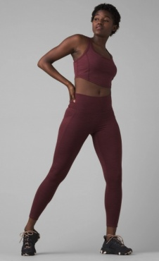PrAna Becksa 7/8 Legging Maroon Heather