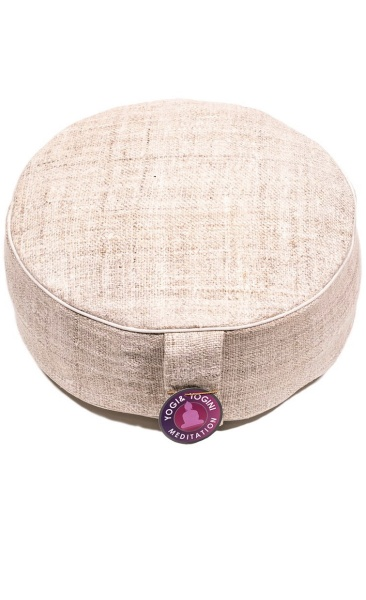Meditation Cushion Hemp - Natural/ white piping