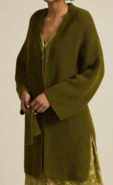 Lanius Cotton Knit Cardigan - Olive