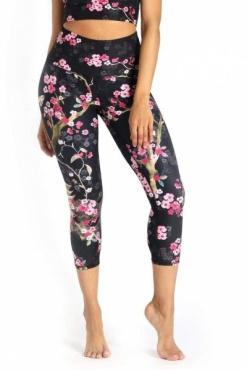 Cherry Bloomin Recycled Cropped Yoga Leggings