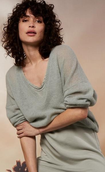10Days V-Neck Sweater Alpaca - Pistache - 3
