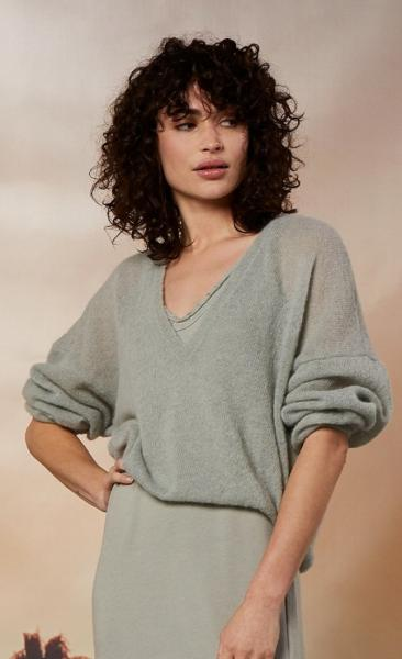 10Days V-Neck Sweater Alpaca - Pistache - 6
