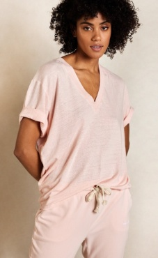 10Days Linen V-Neck Tee - Soft Pink
