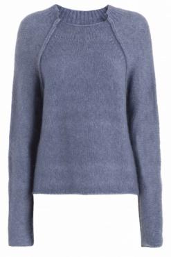 High Neck Fluffy Pullover - Moonlight Avio Blue