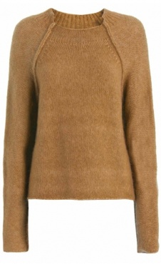 High Neck Fluffy Pullover - Tawny Brown