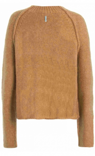 High Neck Fluffy Pullover - Tawny Brown - 1