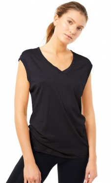Mandala Ribbed V-neck Cap Sleeve - Black