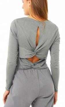 Mandala Cross Back Shirt - Soft Grey
