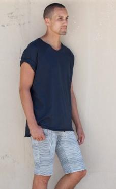 Slimjims Yoga Shorts - Graphite Blue Stripes
